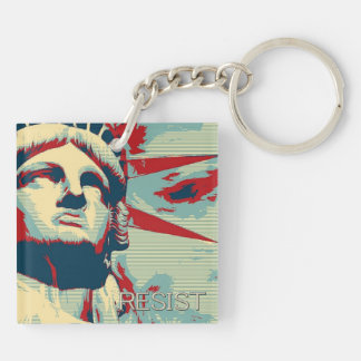 RESIST - Statue of Liberty Double-Sided Square Acrylic Keychain