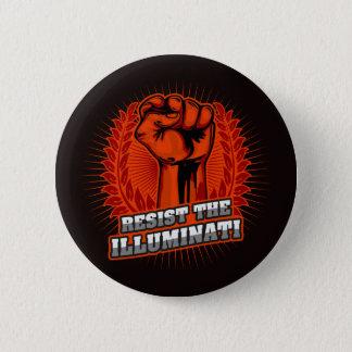 Resist The Illuminati Orange Raised Fist 2 Inch Round Button