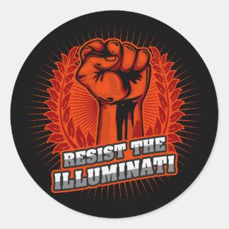 Resist The Illuminati Orange Raised Fist Classic Round Sticker
