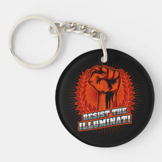 Resist The Illuminati Orange Raised Fist Single-Sided Round Acrylic Keychain