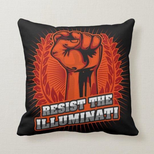 Resist The Illuminati Orange Raised Fist Throw Pillow