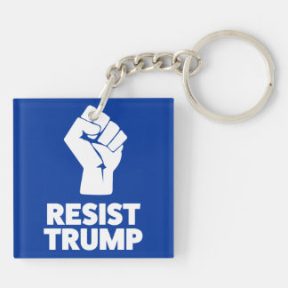 Resist Trump Clenched Solidarity Fist Double-Sided Square Acrylic Keychain