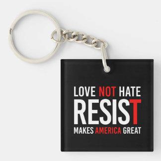 Resist Trump - Love Not Hate Makes America Great - Keychain