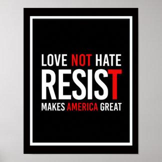 Resist Trump - Love Not Hate Makes America Great - Poster