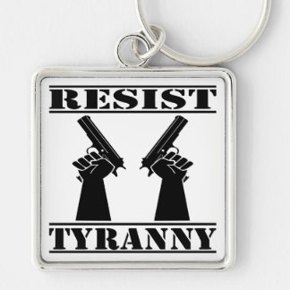 Resist Tyranny  Pistols Silver-Colored Square Keychain