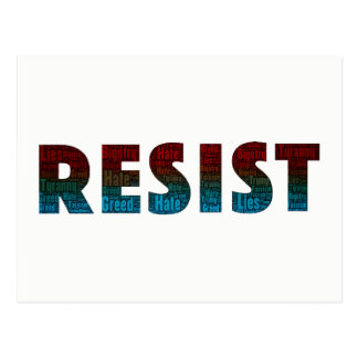 Resist Word Art Postcard