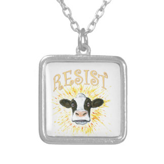 Resistance Dairy Cow Silver Plated Necklace