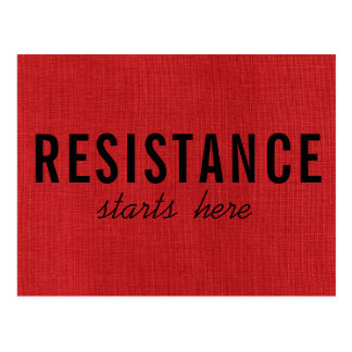 Resistance Starts Here on Red Linen Texture Photo Postcard