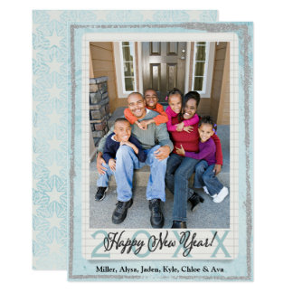 Resolution Blue | Happy New Year Family Photo Card
