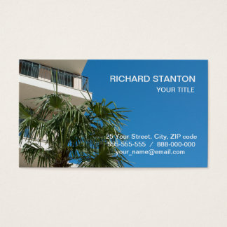 Resort bulding and palm tree business card