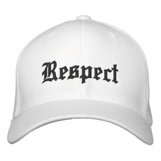Respect hat in white with black letters.