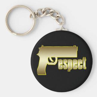Respect in Gold Basic Round Button Keychain