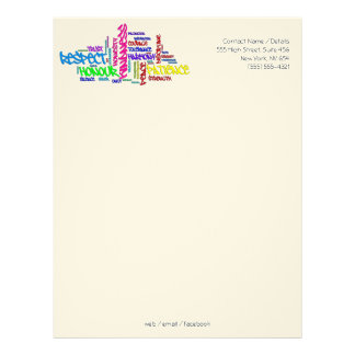 Respect, Kindness, Trust, Virtues word art Letterhead