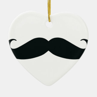 Respect the Stache Mustache Ceramic Heart Ornament
