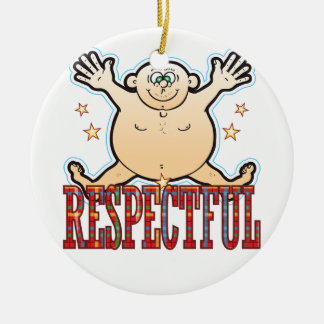 Respectful Fat Man Round Ceramic Ornament