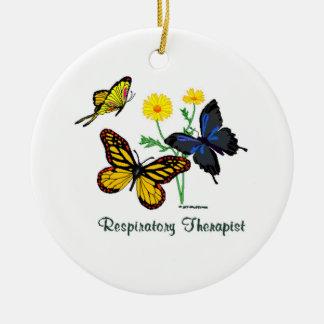 Respiratory Therapist Butterflies Round Ceramic Ornament