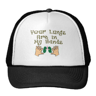 "Respiratory Therapist Gifts ""Lungs in my hands"" Trucker Hat"