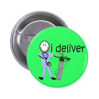 "Respiratory Therapist ""I Deliver""  (Oxygen) 2 Inch Round Button"