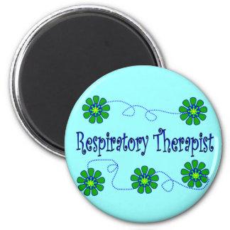 Respiratory Therapist Retro Flowers Design 2 Inch Round Magnet