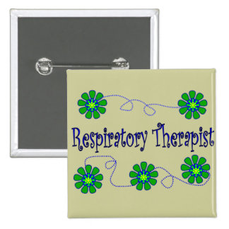 Respiratory Therapist Retro Flowers Design Buttons
