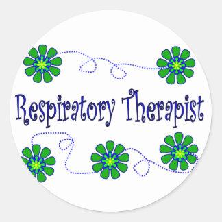 Respiratory Therapist Retro Flowers Design Round Sticker