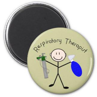 Respiratory Therapist Stick Person 2 Inch Round Magnet