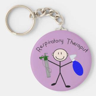 Respiratory Therapist Stick Person Basic Round Button Keychain