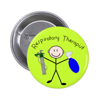 Respiratory Therapist Stick Person 2 Inch Round Button