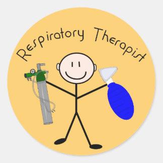 Respiratory Therapist Stick Person Round Sticker