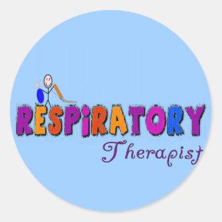Respiratory Therapist Stickman Gifts Round Sticker