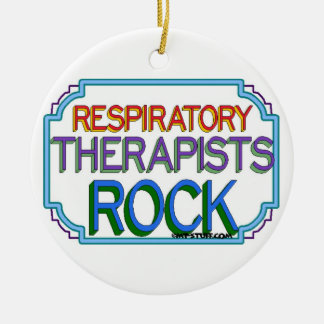 Respiratory Therapists Rock Round Ceramic Ornament
