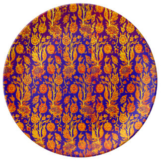 Resplendent Floral Yellow Red Blue Pattern Plate
