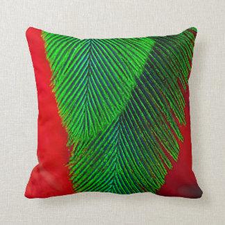Resplendent Quetzal Feather Abstract Throw Pillow