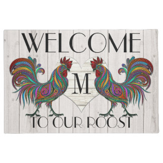 Resplendent Rooster Roost Welcome Door Mat