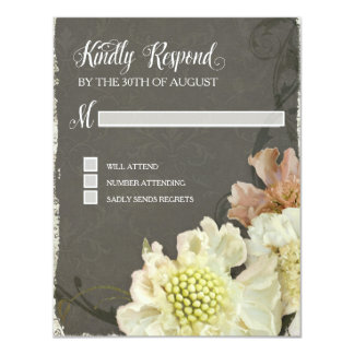 "Response Card Wedding Modern Painterly Floral Art 4.25"" X 5.5"" Invitation Card"