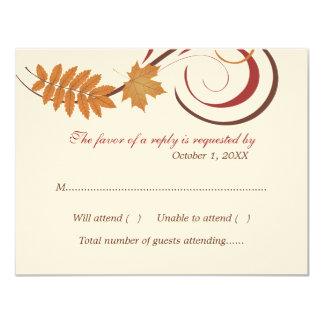 "Response Postcard | Falling Leaves Theme 4.25"" X 5.5"" Invitation Card"