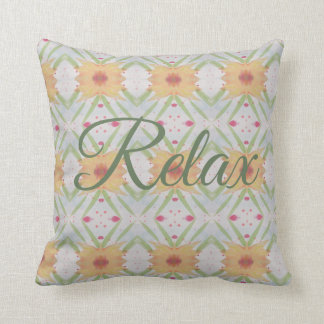 Rest And Relax Cushion in Apricot and Greens