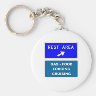 Rest Area Basic Round Button Keychain