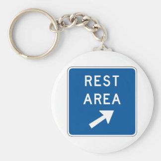 Rest Area Street Sign Basic Round Button Keychain
