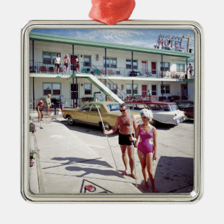 Rest Cove Motel in the 1960's Metal Ornament