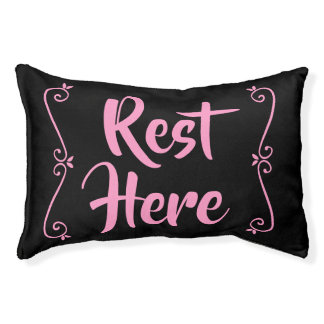 Rest Here Pet Bed (Black with Pink)