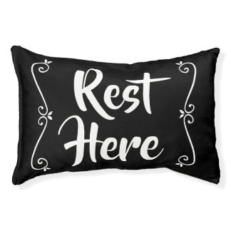 Rest Here Pet Bed (Black with White)