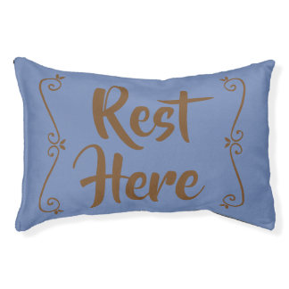 Rest Here Pet Bed (Blue with Brown)