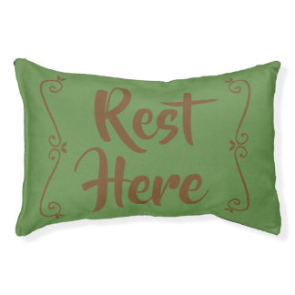 Rest Here Pet Bed (Green with Brown)