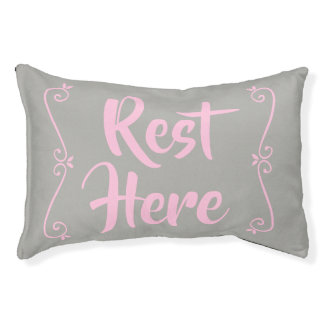 Rest Here Pet Bed (Grey with Pale Pink)