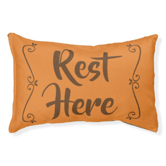 Rest Here Pet Bed (Orange with Brown)