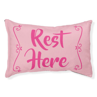 Rest Here Pet Bed (Pale Pink with Hot Pink)