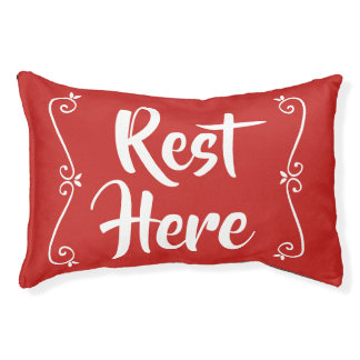 Rest Here Pet Bed (Red with White)