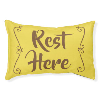 Rest Here Pet Bed (Yellow with Brown)