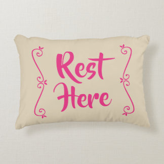 Rest Here Rectangular Pillow (Beige w/Hot Pink)